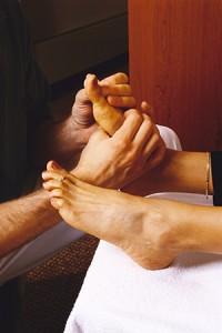 Reflexology works on the principle that there are reflex points in the feet that correspond to the organs in the body. The stimulation of these reflex points, using hand techniques, causes the thousands of nerve endings in each foot to respond, enabling change in every cell, tissue, gland and organ.